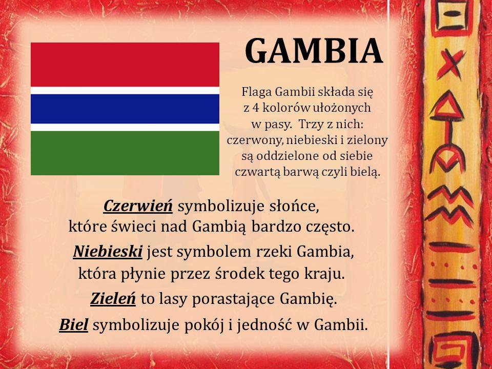 GAMBIA Flaga Gambii składa się z 4 kolorów ułożonych w pasy. Trzy z nich: czerwony, niebieski i zielony są oddzielone od siebie czwartą barwą czyli bi