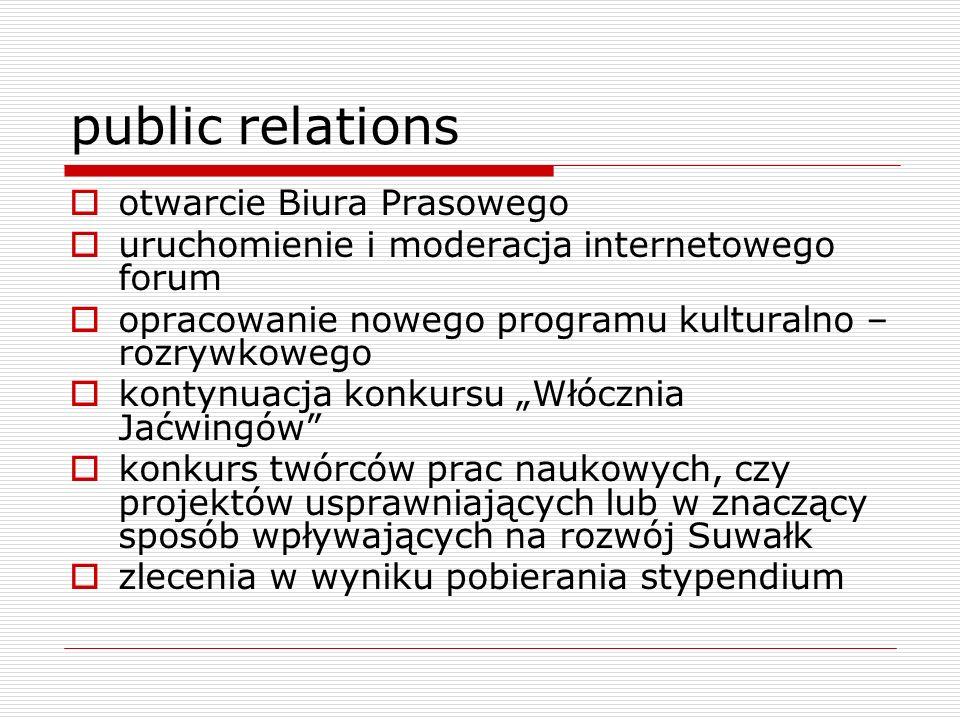public relations otwarcie Biura Prasowego uruchomienie i moderacja internetowego forum opracowanie nowego programu kulturalno – rozrywkowego kontynuac