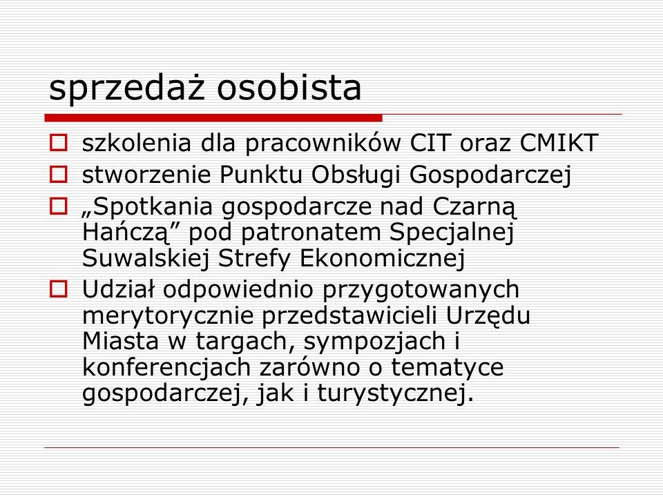 sprzedaż osobista szkolenia dla pracowników CIT oraz CMIKT stworzenie Punktu Obsługi Gospodarczej Spotkania gospodarcze nad Czarną Hańczą pod patronat