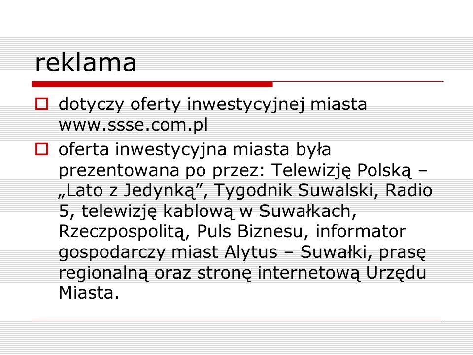 reklama dotyczy oferty inwestycyjnej miasta www.ssse.com.pl oferta inwestycyjna miasta była prezentowana po przez: Telewizję Polską – Lato z Jedynką,