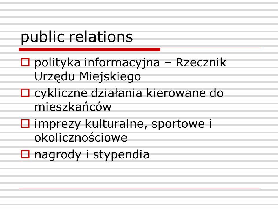 public relations polityka informacyjna – Rzecznik Urzędu Miejskiego cykliczne działania kierowane do mieszkańców imprezy kulturalne, sportowe i okolic