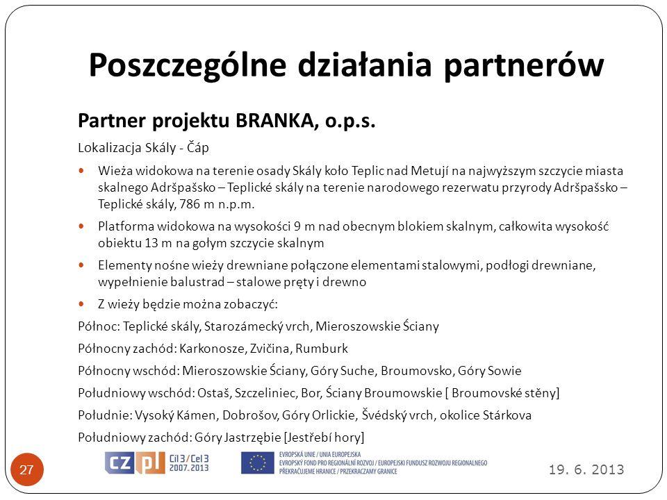 Poszczególne działania partnerów 19. 6. 2013 27 Partner projektu BRANKA, o.p.s. Lokalizacja Skály - Čáp Wieża widokowa na terenie osady Skály koło Tep