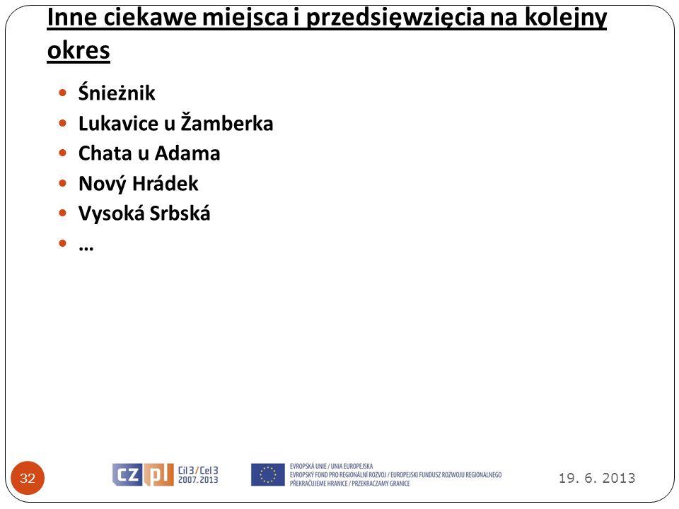 Inne ciekawe miejsca i przedsięwzięcia na kolejny okres 19. 6. 2013 32 Śnieżnik Lukavice u Žamberka Chata u Adama Nový Hrádek Vysoká Srbská …