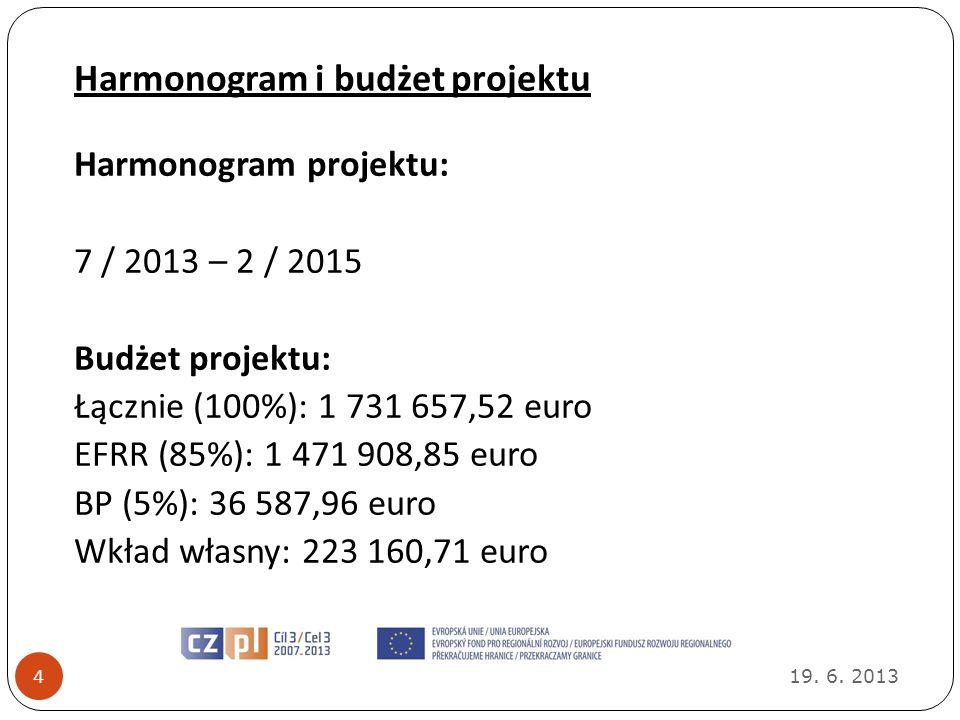 Harmonogram i budżet projektu 19. 6. 2013 4 Harmonogram projektu: 7 / 2013 – 2 / 2015 Budżet projektu: Łącznie (100%): 1 731 657,52 euro EFRR (85%): 1