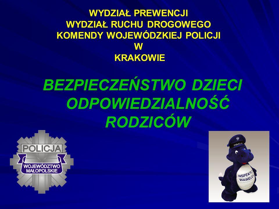 WYDZIAŁ PREWENCJI WYDZIAŁ RUCHU DROGOWEGO KOMENDY WOJEWÓDZKIEJ POLICJI W KRAKOWIE BEZPIECZEŃSTWO DZIECI ODPOWIEDZIALNOŚĆ RODZICÓW