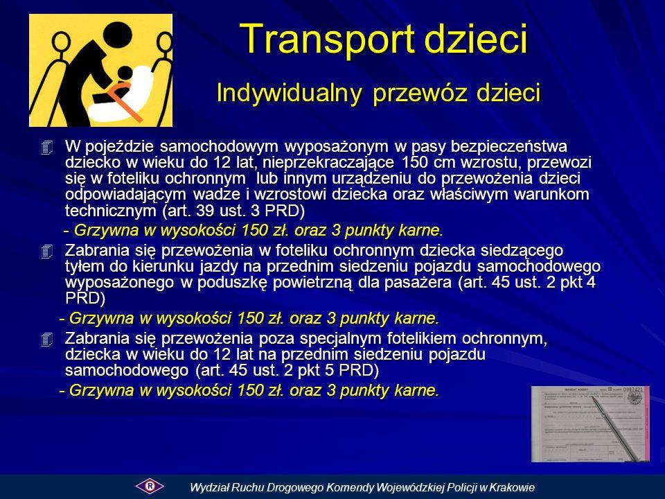 Transport dzieci Indywidualny przewóz dzieci Transport dzieci Indywidualny przewóz dzieci 4 W pojeździe samochodowym wyposażonym w pasy bezpieczeństwa