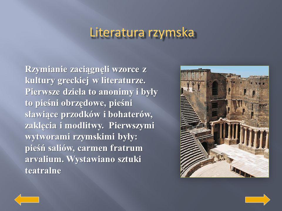 Najważniejszym ośrodkiem sztuki państwa rzymskiego był Rzym. Początkowo widoczne były silne wpływy sztuki etruskiej, w okresie republikańskim dominowa