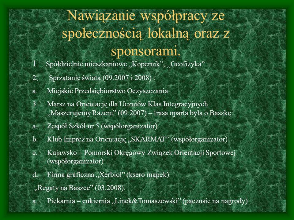 Nawiązanie współpracy ze społecznością lokalną oraz z sponsorami. 1. Spółdzielnie mieszkaniowe,,Kopernik,,,Geofizyka 2, Sprzątanie świata (09.2007 i 2