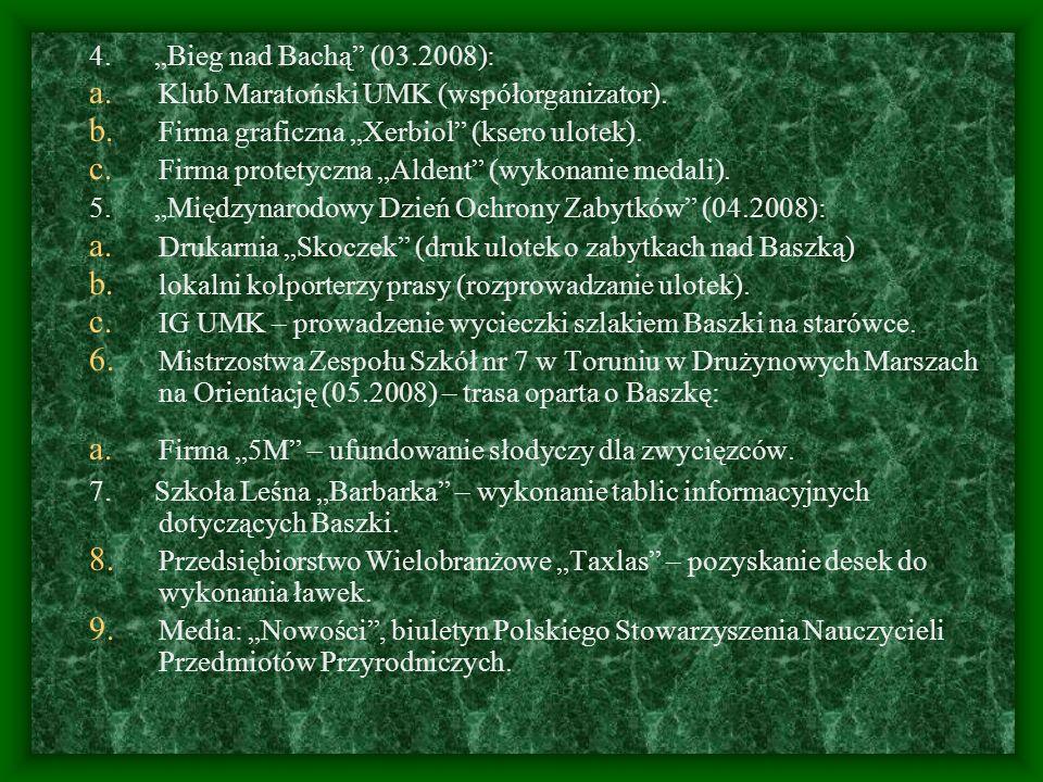 4. Bieg nad Bachą (03.2008): a. Klub Maratoński UMK (współorganizator). b. Firma graficzna Xerbiol (ksero ulotek). c. Firma protetyczna Aldent (wykona