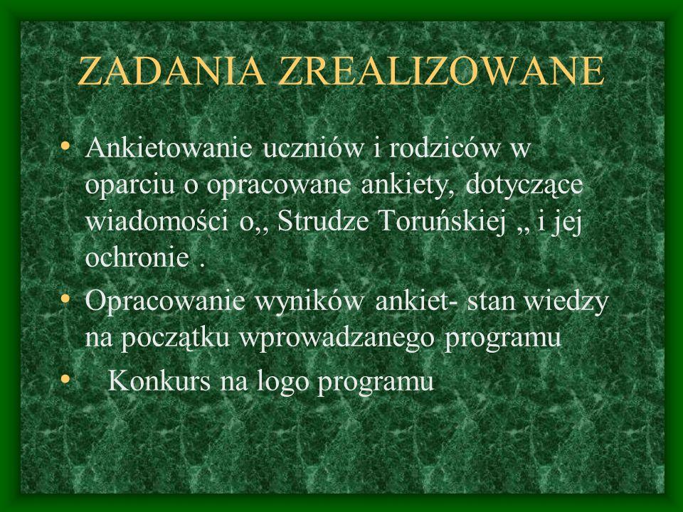ZADANIA ZREALIZOWANE Ankietowanie uczniów i rodziców w oparciu o opracowane ankiety, dotyczące wiadomości o,, Strudze Toruńskiej i jej ochronie. Oprac