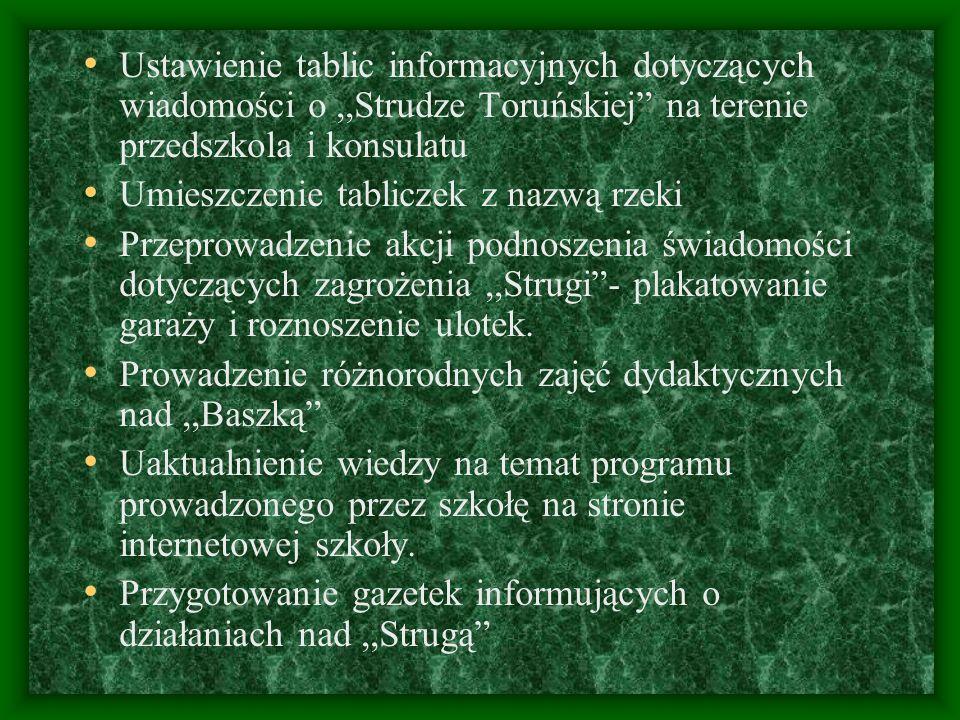 Ustawienie tablic informacyjnych dotyczących wiadomości o,,Strudze Toruńskiej na terenie przedszkola i konsulatu Umieszczenie tabliczek z nazwą rzeki
