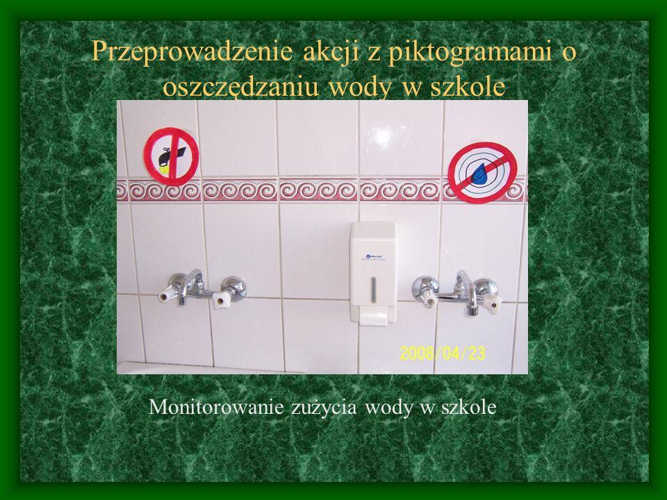 Przeprowadzenie akcji z piktogramami o oszczędzaniu wody w szkole Monitorowanie zużycia wody w szkole