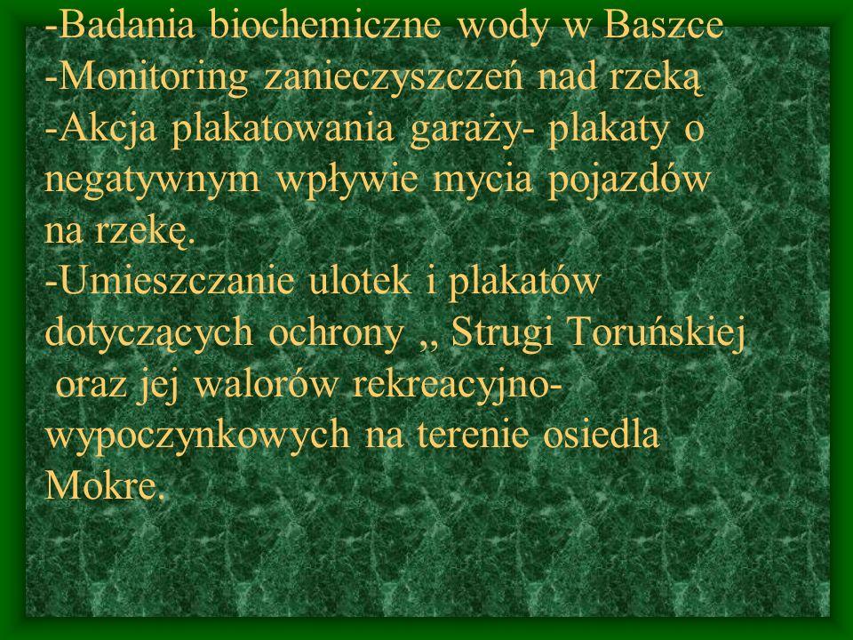 -Badania biochemiczne wody w Baszce -Monitoring zanieczyszczeń nad rzeką -Akcja plakatowania garaży- plakaty o negatywnym wpływie mycia pojazdów na rz
