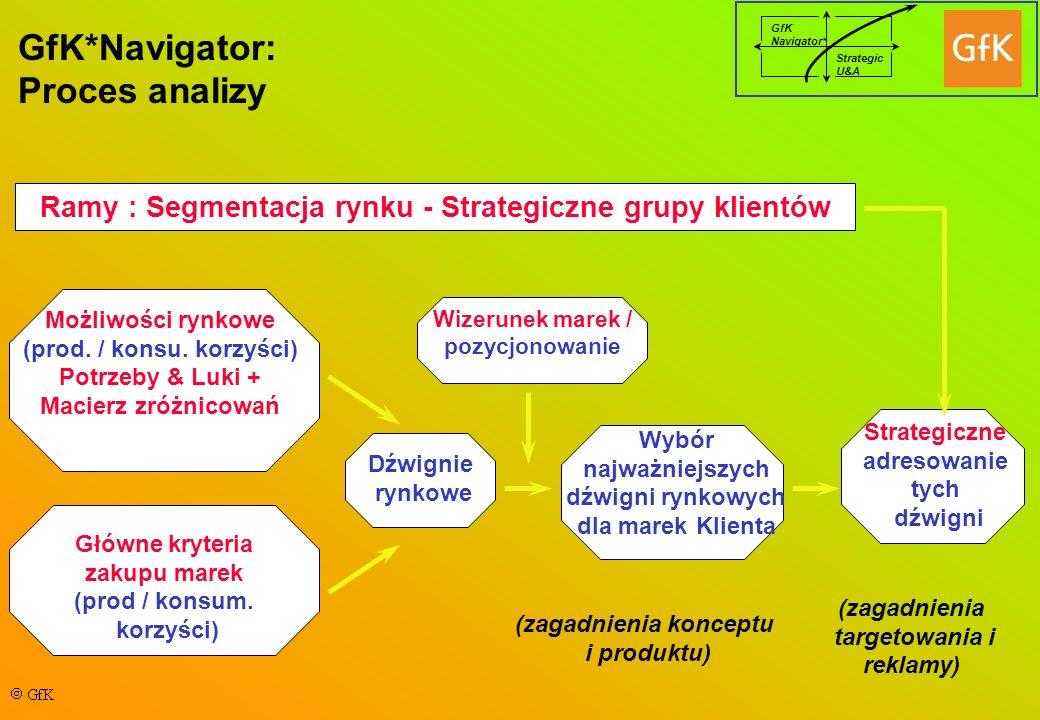 GfK Navigator* Strategic U&A GfK*Navigator: Proces analizy Ramy : Segmentacja rynku - Strategiczne grupy klientów Możliwości rynkowe (prod.