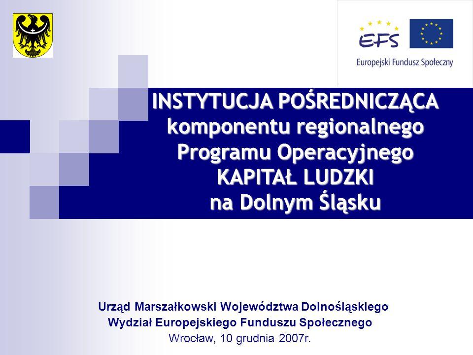 Urząd Marszałkowski Województwa Dolnośląskiego Wydział Europejskiego Funduszu Społecznego Wrocław, 10 grudnia 2007r. INSTYTUCJA POŚREDNICZĄCA komponen