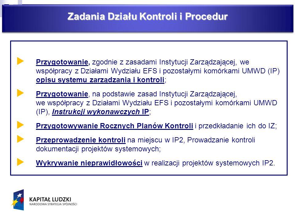 Zadania Działu Kontroli i Procedur Przygotowanie, zgodnie z zasadami Instytucji Zarządzającej, we współpracy z Działami Wydziału EFS i pozostałymi kom