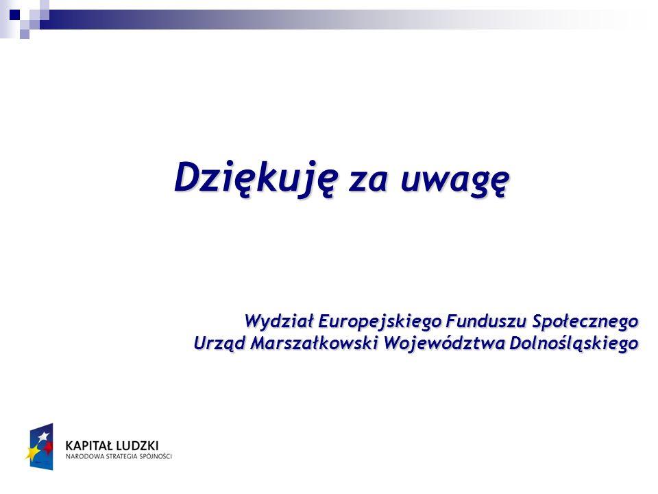 Dziękuję za uwagę Wydział Europejskiego Funduszu Społecznego Urząd Marszałkowski Województwa Dolnośląskiego