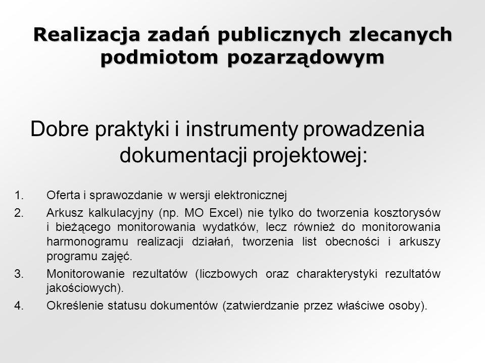 Realizacja zadań publicznych zlecanych podmiotom pozarządowym Dobre praktyki i instrumenty prowadzenia dokumentacji projektowej: 1.Oferta i sprawozdanie w wersji elektronicznej 2.Arkusz kalkulacyjny (np.