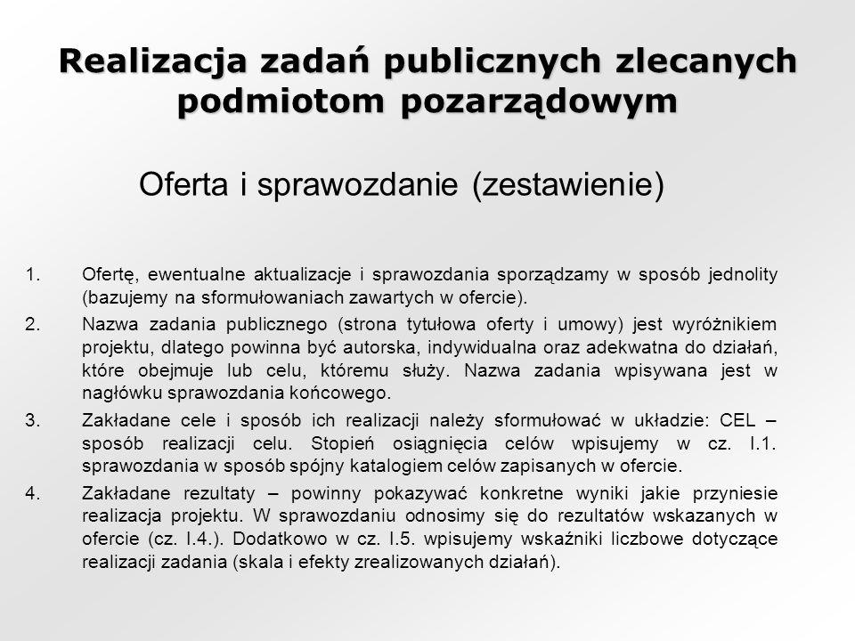 Realizacja zadań publicznych zlecanych podmiotom pozarządowym Oferta i sprawozdanie (zestawienie) 1.Ofertę, ewentualne aktualizacje i sprawozdania sporządzamy w sposób jednolity (bazujemy na sformułowaniach zawartych w ofercie).