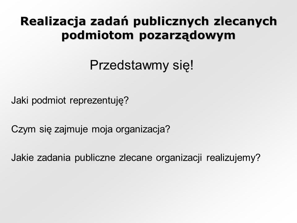 Realizacja zadań publicznych zlecanych podmiotom pozarządowym Przedstawmy się.