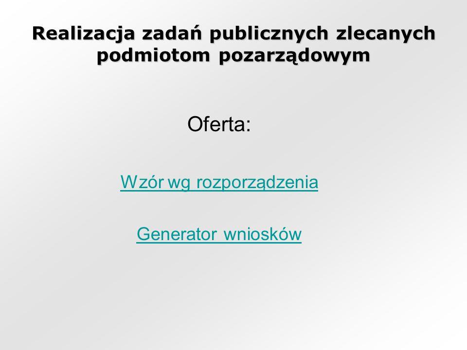 Realizacja zadań publicznych zlecanych podmiotom pozarządowym Oferta: Wzór wg rozporządzenia Generator wniosków
