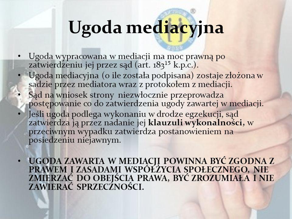 Ugoda mediacyjna Ugoda wypracowana w mediacji ma moc prawną po zatwierdzeniu jej przez sąd (art. 183¹ k.p.c.). Ugoda mediacyjna (o ile została podpisa