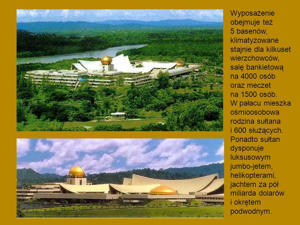 Wyposażenie obejmuje też 5 basenów, klimatyzowane stajnie dla kilkuset wierzchowców, salę bankietową na 4000 osób oraz meczet na 1500 osób.