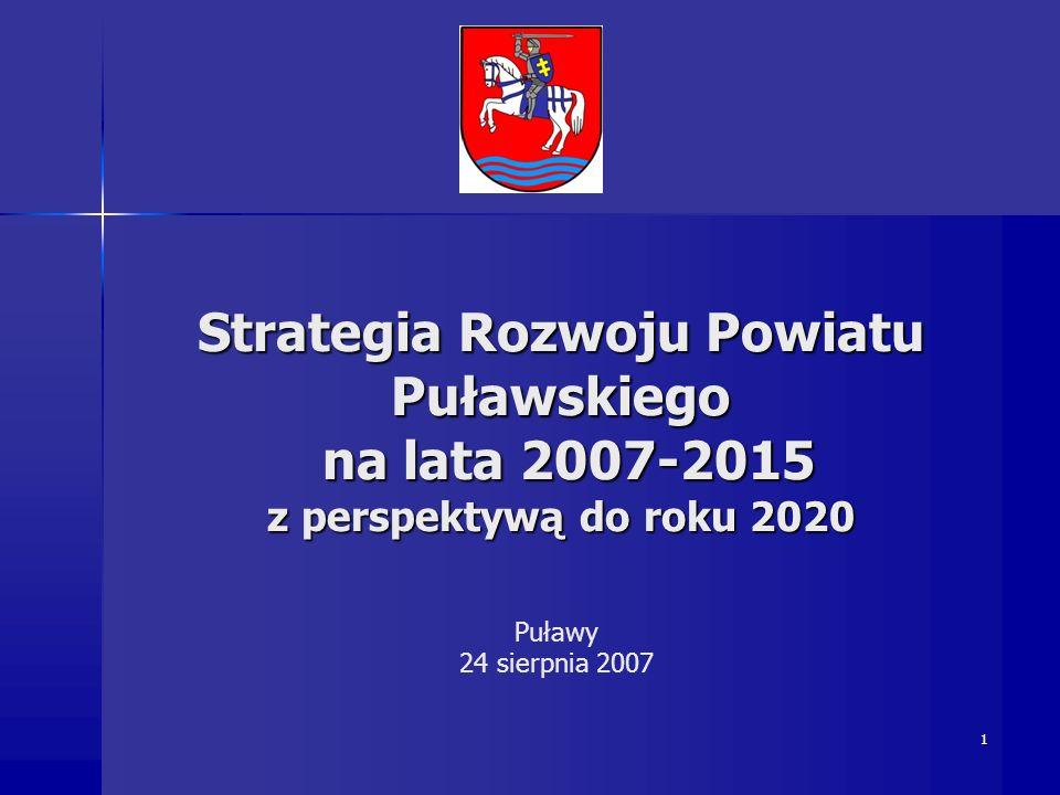 1 Strategia Rozwoju Powiatu Puławskiego na lata 2007-2015 z perspektywą do roku 2020 na lata 2007-2015 z perspektywą do roku 2020 Puławy 24 sierpnia 2007