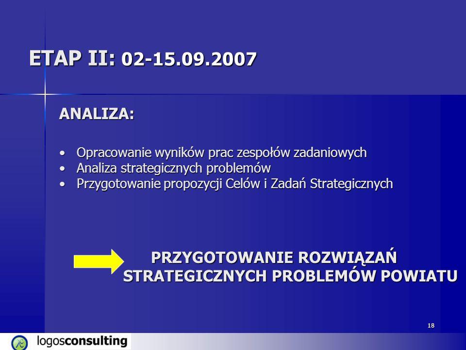 18 ETAP II: 02-15.09.2007 ANALIZA: Opracowanie wyników prac zespołów zadaniowychOpracowanie wyników prac zespołów zadaniowych Analiza strategicznych p