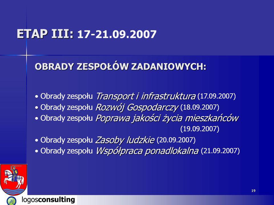 19 ETAP III: ETAP III: 17-21.09.2007 OBRADY ZESPOŁÓW ZADANIOWYCH: Transport i infrastruktura Obrady zespołu Transport i infrastruktura (17.09.2007) Ro