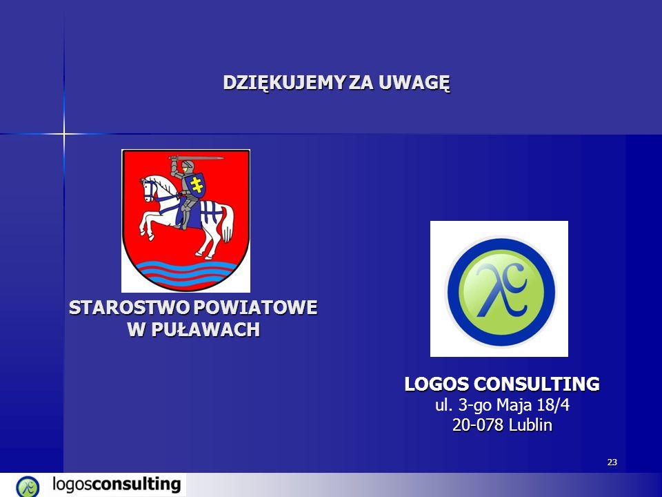 23 DZIĘKUJEMY ZA UWAGĘ LOGOS CONSULTING ul. 3-go Maja 18/4 20-078 Lublin STAROSTWO POWIATOWE W PUŁAWACH