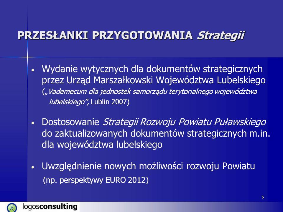 5 PRZESŁANKI PRZYGOTOWANIA Strategii Wydanie wytycznych dla dokumentów strategicznych przez Urząd Marszałkowski Województwa Lubelskiego (Vademecum dla