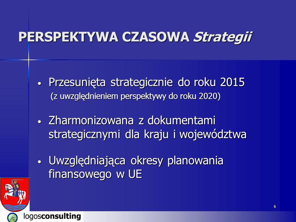 6 PERSPEKTYWA CZASOWA Strategii Przesunięta strategicznie do roku 2015 Przesunięta strategicznie do roku 2015 (z uwzględnieniem perspektywy do roku 2020) (z uwzględnieniem perspektywy do roku 2020) Zharmonizowana z dokumentami strategicznymi dla kraju i województwa Zharmonizowana z dokumentami strategicznymi dla kraju i województwa Uwzględniająca okresy planowania finansowego w UE Uwzględniająca okresy planowania finansowego w UE