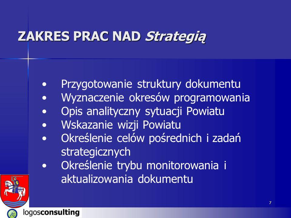 7 Przygotowanie struktury dokumentu Wyznaczenie okresów programowania Opis analityczny sytuacji Powiatu Wskazanie wizji Powiatu Określenie celów pośrednich i zadań strategicznych Określenie trybu monitorowania i aktualizowania dokumentu ZAKRES PRAC NAD Strategią
