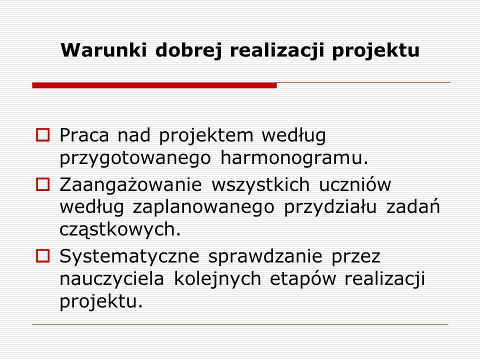 Warunki dobrej realizacji projektu Praca nad projektem według przygotowanego harmonogramu. Zaangażowanie wszystkich uczniów według zaplanowanego przyd