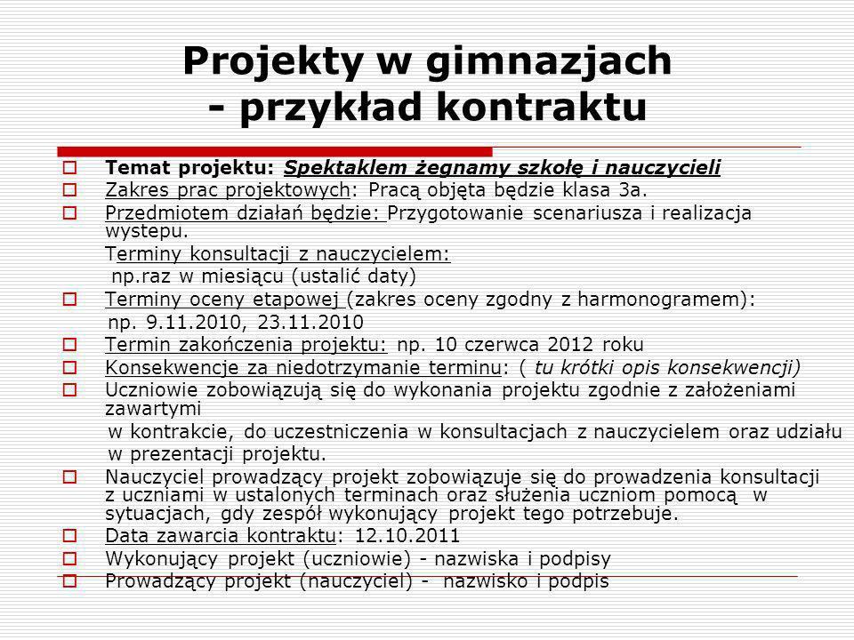 Projekty w gimnazjach - przykład kontraktu Temat projektu: Spektaklem żegnamy szkołę i nauczycieli Zakres prac projektowych: Pracą objęta będzie klasa
