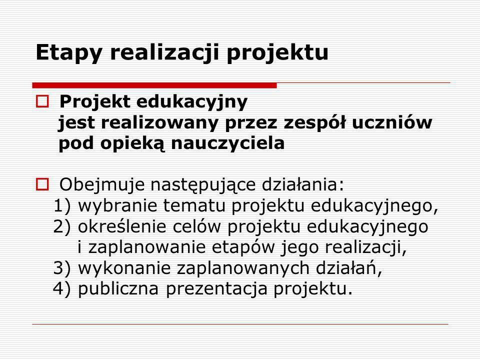 Etapy realizacji projektu Projekt edukacyjny jest realizowany przez zespół uczniów pod opieką nauczyciela Obejmuje następujące działania: 1) wybranie
