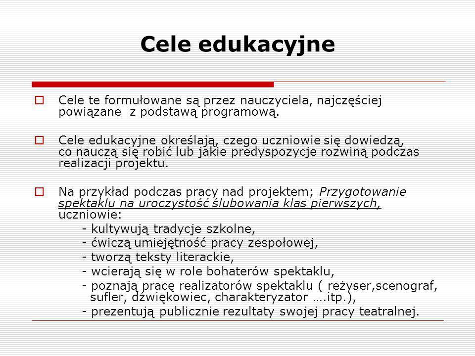 Cele edukacyjne Cele te formułowane są przez nauczyciela, najczęściej powiązane z podstawą programową. Cele edukacyjne określają, czego uczniowie się