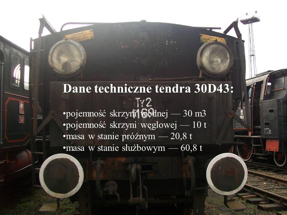Dane techniczne tendra 30D43: pojemność skrzyni wodnej 30 m3 pojemność skrzyni węglowej 10 t masa w stanie próżnym 20,8 t masa w stanie służbowym 60,8