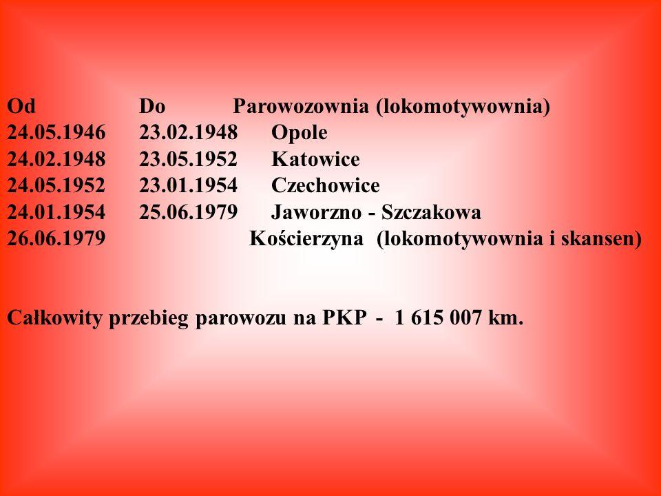 Od Do Parowozownia (lokomotywownia) 24.05.1946 23.02.1948 Opole 24.02.1948 23.05.1952 Katowice 24.05.1952 23.01.1954 Czechowice 24.01.1954 25.06.1979
