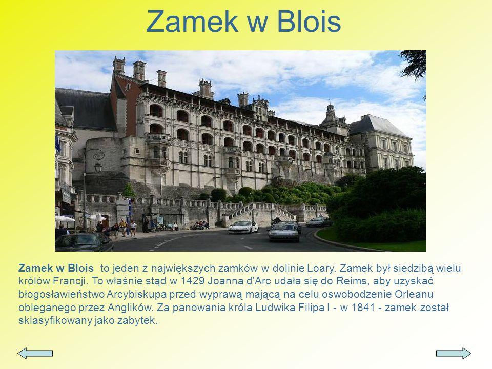 Zamek w Blois Zamek w Blois to jeden z największych zamków w dolinie Loary. Zamek był siedzibą wielu królów Francji. To właśnie stąd w 1429 Joanna d'A