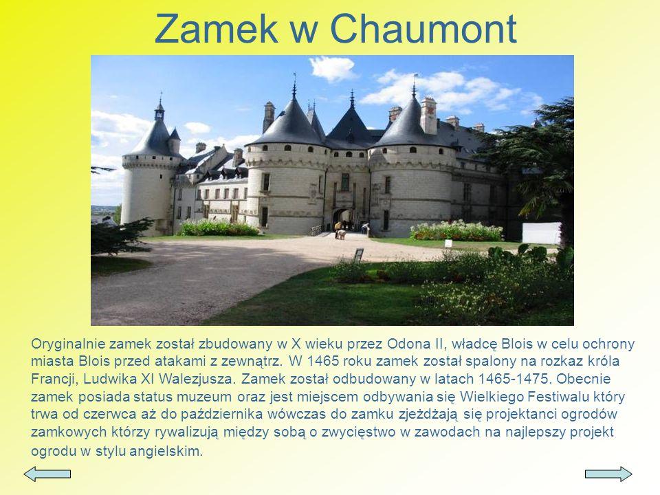 Zamek w Chaumont Oryginalnie zamek został zbudowany w X wieku przez Odona II, władcę Blois w celu ochrony miasta Blois przed atakami z zewnątrz. W 146