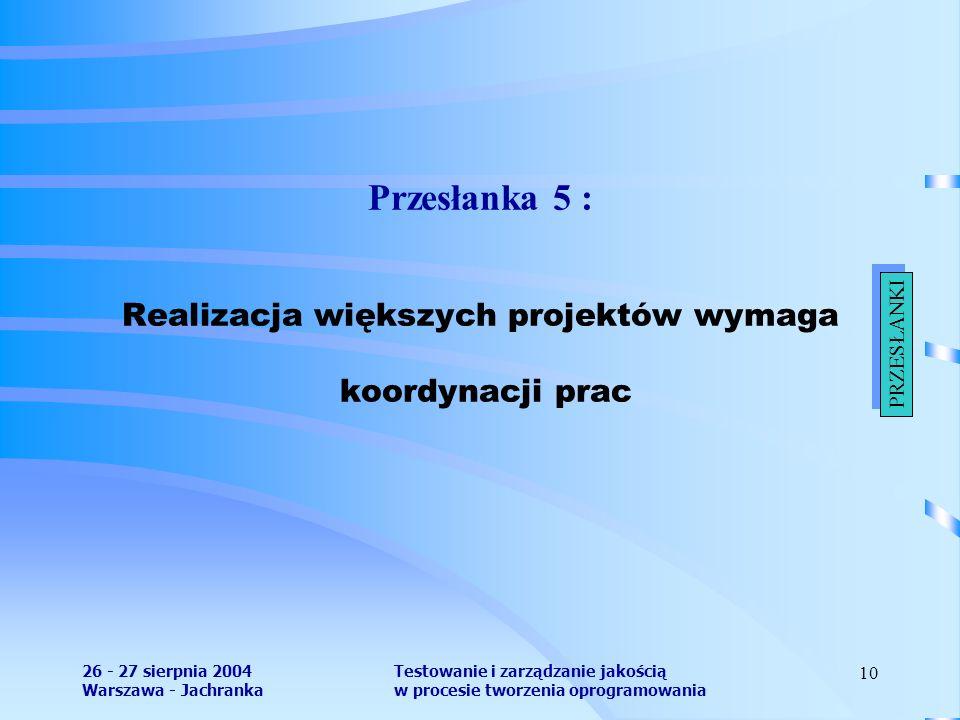 26 - 27 sierpnia 2004 Warszawa - Jachranka Testowanie i zarządzanie jakością w procesie tworzenia oprogramowania 10 Przesłanka 5 : Realizacja większych projektów wymaga koordynacji prac PRZESŁANKI