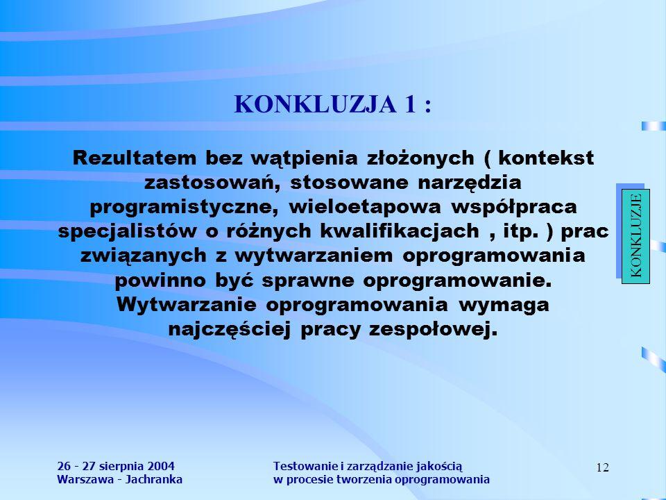 26 - 27 sierpnia 2004 Warszawa - Jachranka Testowanie i zarządzanie jakością w procesie tworzenia oprogramowania 12 KONKLUZJA 1 : Rezultatem bez wątpienia złożonych ( kontekst zastosowań, stosowane narzędzia programistyczne, wieloetapowa współpraca specjalistów o różnych kwalifikacjach, itp.