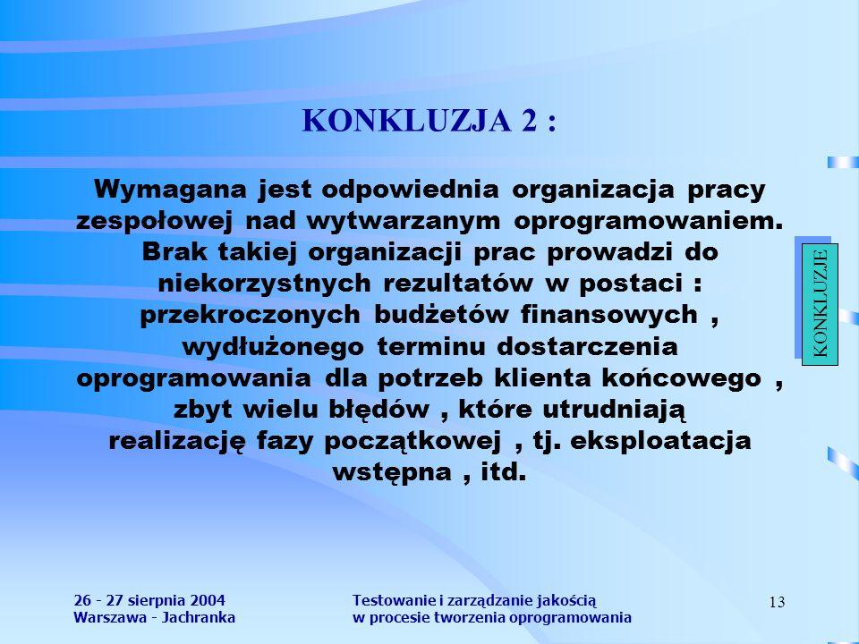 26 - 27 sierpnia 2004 Warszawa - Jachranka Testowanie i zarządzanie jakością w procesie tworzenia oprogramowania 13 KONKLUZJA 2 : Wymagana jest odpowiednia organizacja pracy zespołowej nad wytwarzanym oprogramowaniem.