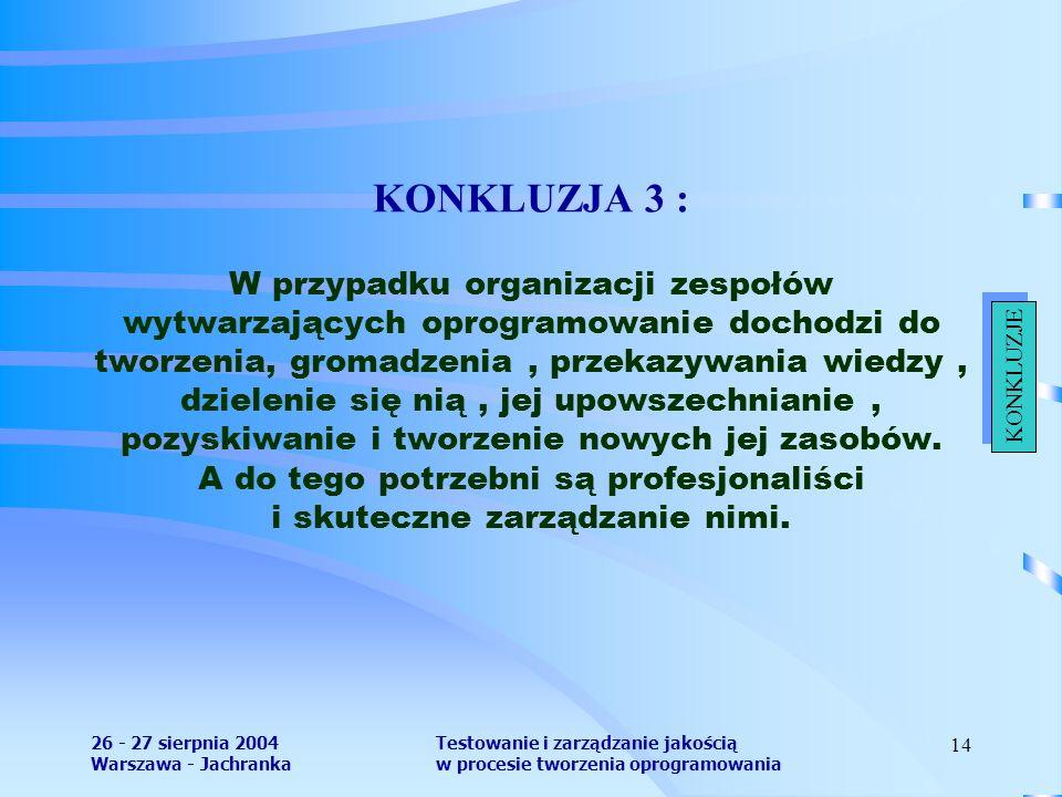 26 - 27 sierpnia 2004 Warszawa - Jachranka Testowanie i zarządzanie jakością w procesie tworzenia oprogramowania 14 KONKLUZJA 3 : W przypadku organizacji zespołów wytwarzających oprogramowanie dochodzi do tworzenia, gromadzenia, przekazywania wiedzy, dzielenie się nią, jej upowszechnianie, pozyskiwanie i tworzenie nowych jej zasobów.