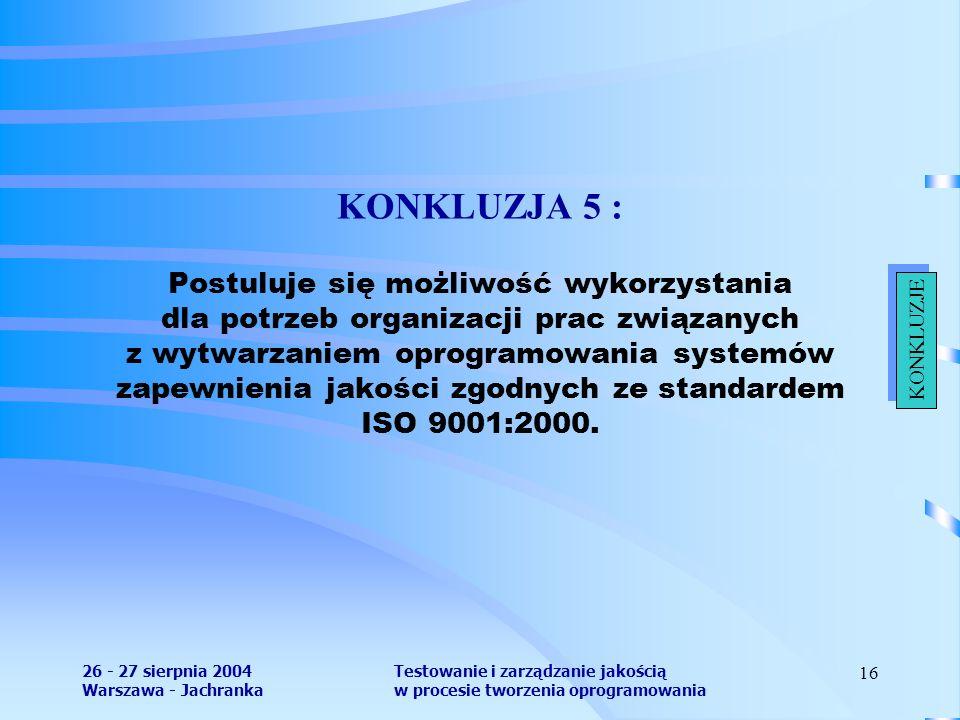 26 - 27 sierpnia 2004 Warszawa - Jachranka Testowanie i zarządzanie jakością w procesie tworzenia oprogramowania 16 KONKLUZJA 5 : Postuluje się możliwość wykorzystania dla potrzeb organizacji prac związanych z wytwarzaniem oprogramowania systemów zapewnienia jakości zgodnych ze standardem ISO 9001:2000.