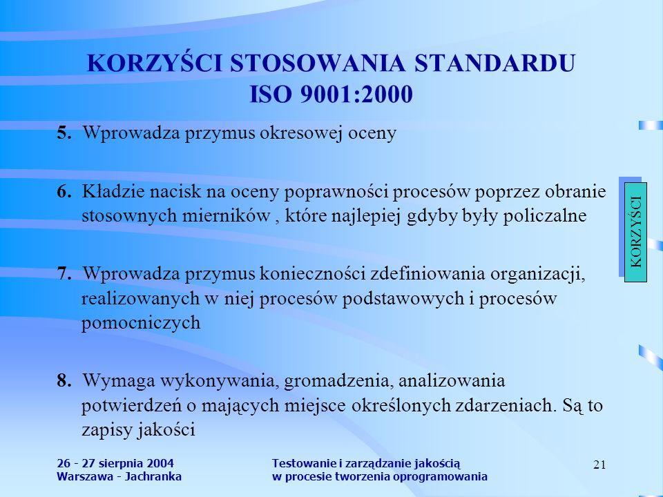 26 - 27 sierpnia 2004 Warszawa - Jachranka Testowanie i zarządzanie jakością w procesie tworzenia oprogramowania 21 KORZYŚCI STOSOWANIA STANDARDU ISO 9001:2000 5.