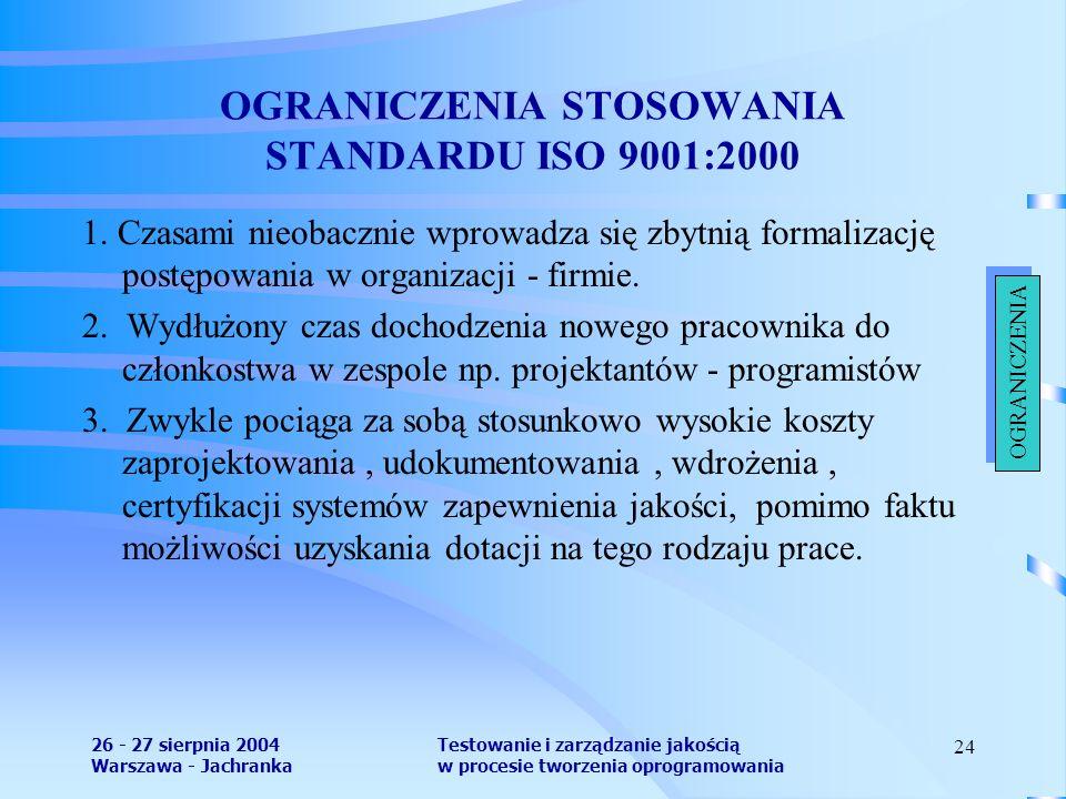 26 - 27 sierpnia 2004 Warszawa - Jachranka Testowanie i zarządzanie jakością w procesie tworzenia oprogramowania 24 OGRANICZENIA STOSOWANIA STANDARDU ISO 9001:2000 1.