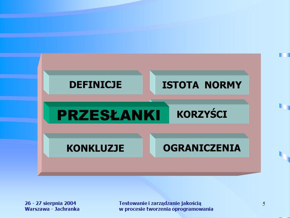 26 - 27 sierpnia 2004 Warszawa - Jachranka Testowanie i zarządzanie jakością w procesie tworzenia oprogramowania 5 DEFINICJEISTOTA NORMY KORZYŚCI PRZESŁANKI OGRANICZENIAKONKLUZJE